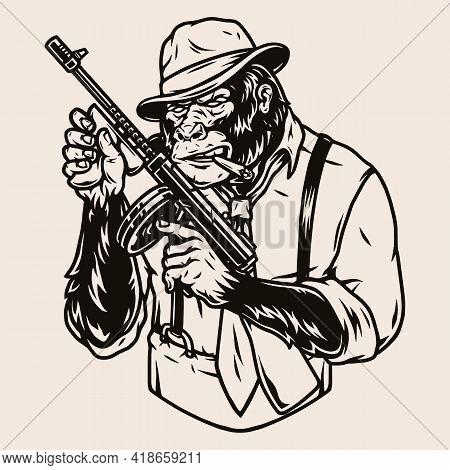 Mafia Member Gorilla In Fedora Hat Smoking Cigar And Holding Thompson Submachine Gun In Vintage Mono