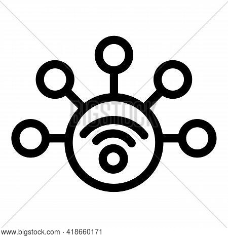 Wifi Internet Icon. Outline Wifi Internet Vector Icon For Web Design Isolated On White Background