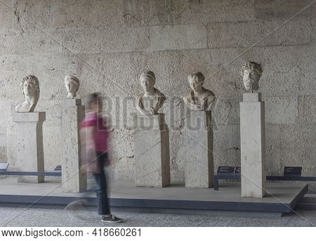 Athens, Greece-june 16, 2017: Sculptures In The Stoa Of Attalos Building, An Ancient Commercial Cent