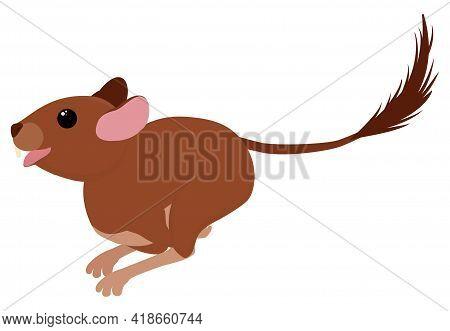 Degu Squirrel Rodent Pet. Vector Cartoon Running Animal Illustration Isolated On White.