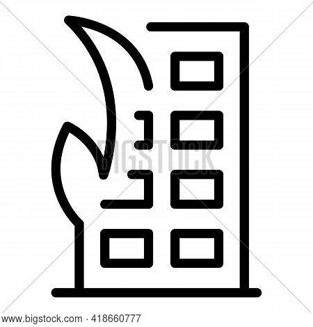 Compensation Destroyed Building Icon. Outline Compensation Destroyed Building Vector Icon For Web De