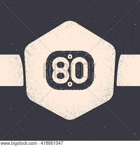 Grunge 80s Retro Icon Isolated On Grey Background. Eighties Poster. Monochrome Vintage Drawing. Vect