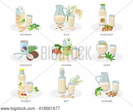 Vegan Milk Set, Almond, Soybean, Rice, Hazelnut, Coconut, Cashew, Hemp, Peanut, Oat Milk. Varius Bot