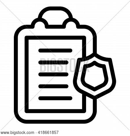 Liability Clipboard Icon. Outline Liability Clipboard Vector Icon For Web Design Isolated On White B