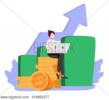 Financial Consultant Leaning On A Stack Of Coins Smiles Friendly And Waves With Hand. Successful Inv
