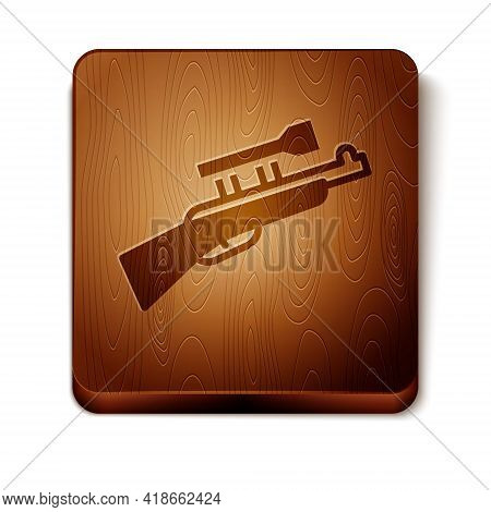 Brown Sniper Rifle With Scope Icon Isolated On White Background. Wooden Square Button. Vector