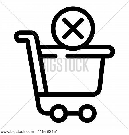 Shop Cart Payment Cancellation Icon. Outline Shop Cart Payment Cancellation Vector Icon For Web Desi