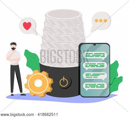 Voice Assistant Abstract Concept Vector Illustration. Smart Speaker Apps Development, Office Control