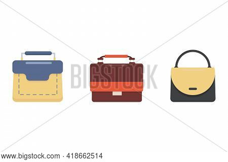 Elegants Women's Multicolored Briefcases Different Shapes With Fashionable Handle, Isolated On  Whit