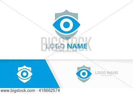 Vector Eye And Shield Logo Combination. Unique Vision And Guard Logotype Design Template.