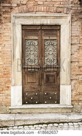 Italian Door In A Small Village In The Reegion Of Abruzzo Italy