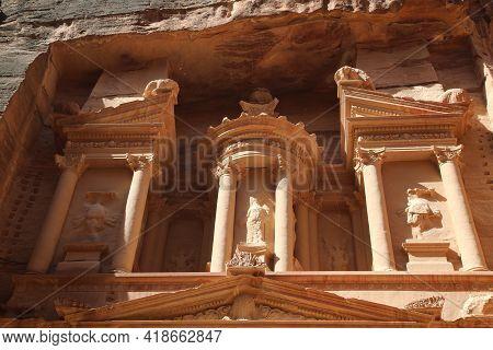 Petra The Beautiful Nabataean Treasury. High Quality Photo