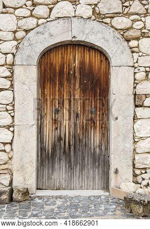 Italian Door In A Small Village In The Reegion Of Abruzzo Italy