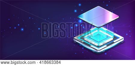 Futuristic Cpu Microchip Banner In Isometric Position With Lights And Glow Effects. Processor Microc