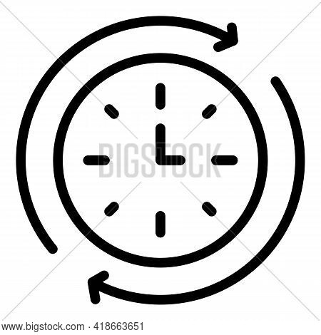 Rush Job Wall Clock Icon. Outline Rush Job Wall Clock Vector Icon For Web Design Isolated On White B