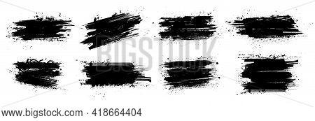 Ink Brushstroke And Paintbrush Template With Splashes Grunge. Vector Set Black Ink Brush Stroke. Dir