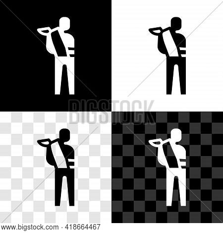 Set Human Broken Arm Icon Isolated On Black And White, Transparent Background. Injured Man In Bandag