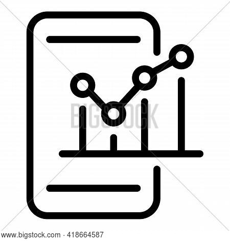 Result Money Graph On Phone Icon. Outline Result Money Graph On Phone Vector Icon For Web Design Iso