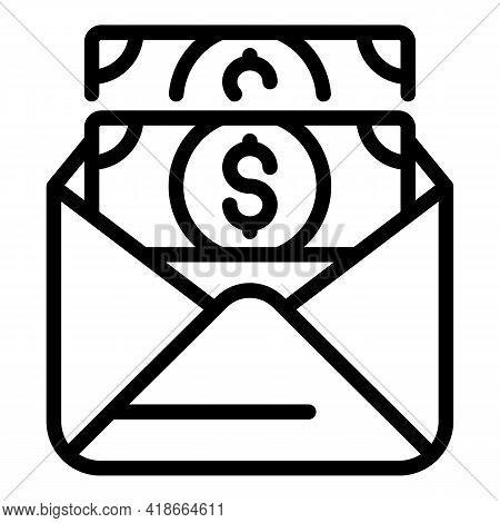 Result Money Cash Envelope Icon. Outline Result Money Cash Envelope Vector Icon For Web Design Isola