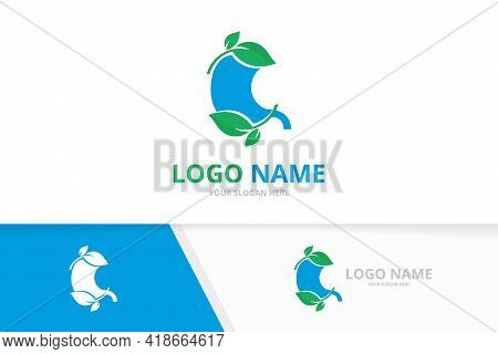 Premium Blue Stomach And Leaves Logo. Gastrointestinal Tract Logotype Design.