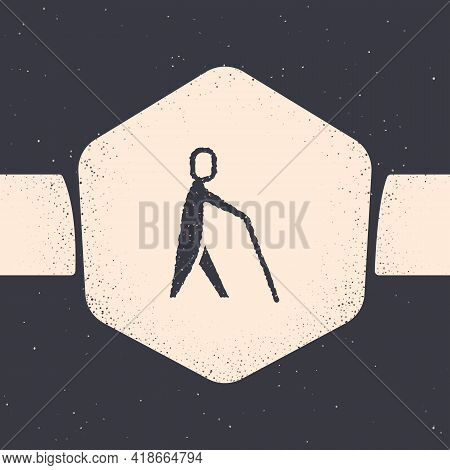 Grunge Blind Human Holding Stick Icon Isolated On Grey Background. Disabled Human With Blindness. Mo