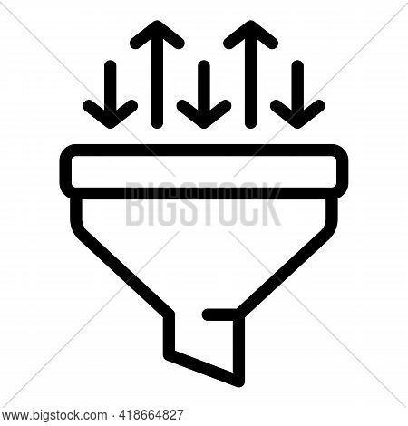 Result Money Grow Funnel Icon. Outline Result Money Grow Funnel Vector Icon For Web Design Isolated