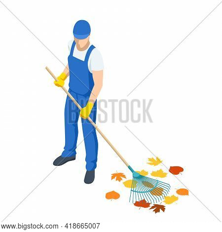 Agricultural Work. Isometric Man Cleaning Fallen Autumn Leaves, A Gardener Collects And Cleans Falle