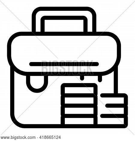 Briefcase Market Studies Icon. Outline Briefcase Market Studies Vector Icon For Web Design Isolated