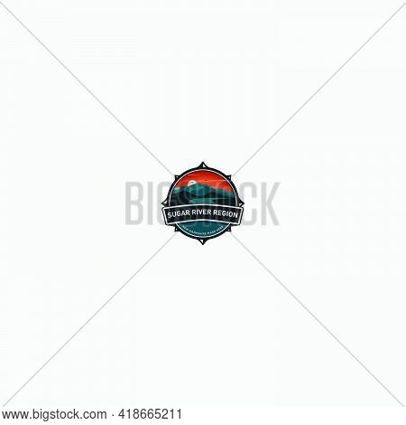 Badge Landscape Logo Classic River And Mountain