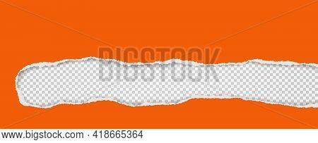 Oblong Hole Composition In Orange Paper With Torn Edges And Soft Shadow Is On White Squared Backgrou