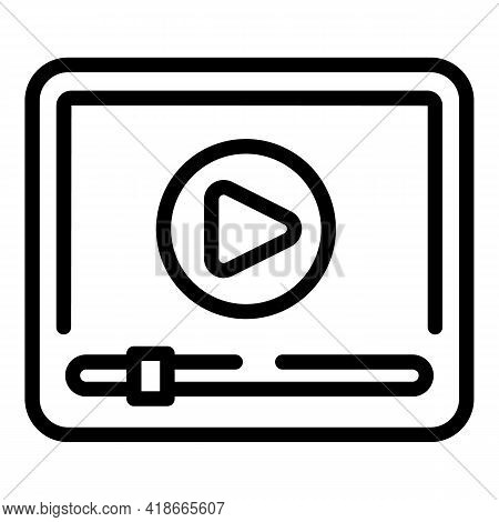 Video Lesson Market Studies Icon. Outline Video Lesson Market Studies Vector Icon For Web Design Iso