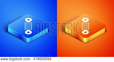 Isometric Shock Absorber Icon Isolated On Blue And Orange Background. Square Button. Vector