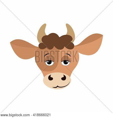 Vector Cartoon Illustration Of A Calf Head. Taurus Horoscope