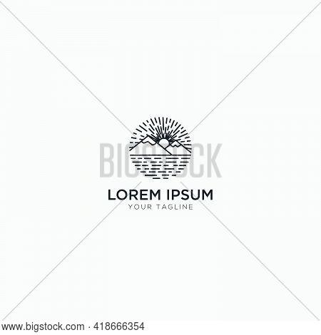 Mountain And River Landscape Logo Line Art