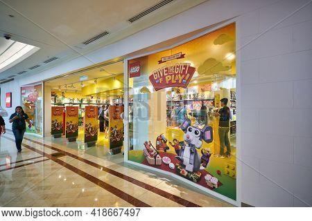 KUALA LUMPUR, MALAYSIA - CIRCA JANUARY, 2020: Lego storefront at Suria KLCC shopping mall in Kuala Lumpur.