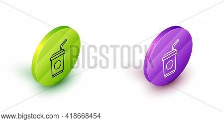 Isometric Line Paper Glass With Drinking Straw And Water Icon Isolated On White Background. Soda Dri