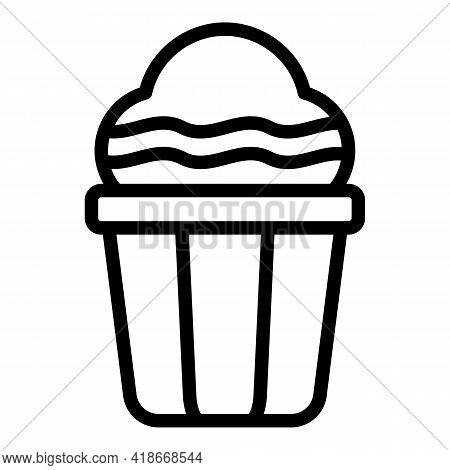 Muffin Cake Icon. Outline Muffin Cake Vector Icon For Web Design Isolated On White Background