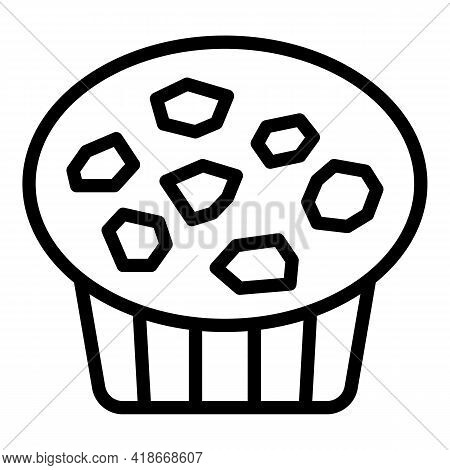 Sweet Muffin Icon. Outline Sweet Muffin Vector Icon For Web Design Isolated On White Background