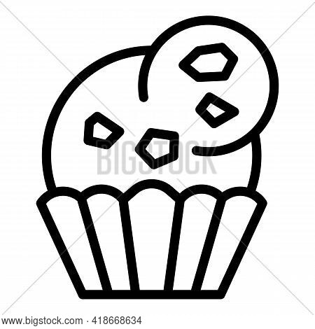 Cream Muffin Icon. Outline Cream Muffin Vector Icon For Web Design Isolated On White Background
