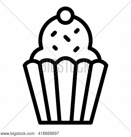 Snack Muffin Icon. Outline Snack Muffin Vector Icon For Web Design Isolated On White Background
