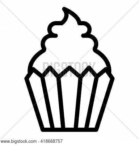 Tasty Muffin Icon. Outline Tasty Muffin Vector Icon For Web Design Isolated On White Background