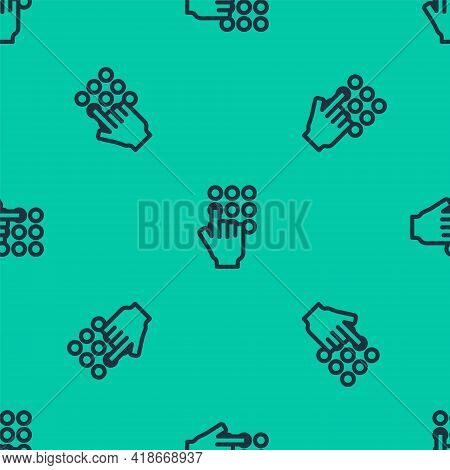 Blue Line Password Protection And Safety Access Icon Isolated Seamless Pattern On Green Background.