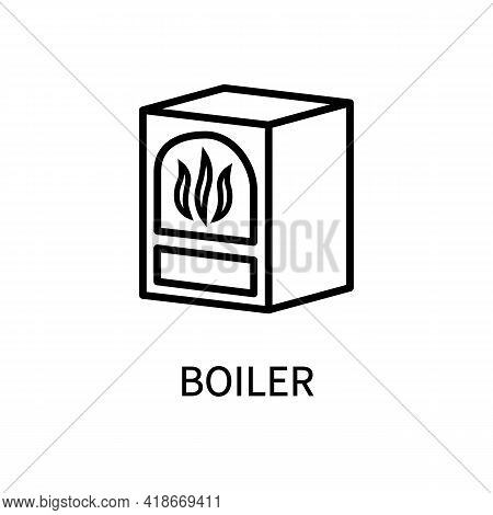 Icon Line Boiler Heating Fireplace In A Simple Style. Vector Sign In A Simple Style Isolated On A Wh