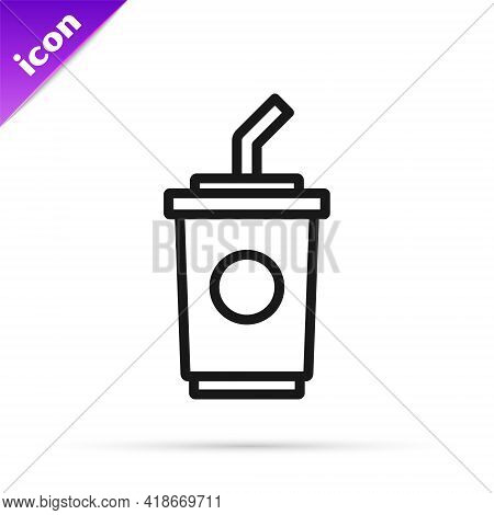 Black Line Paper Glass With Drinking Straw And Water Icon Isolated On White Background. Soda Drink G