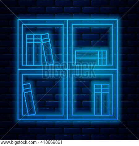Glowing Neon Line Shelf With Books Icon Isolated On Brick Wall Background. Shelves Sign. Vector