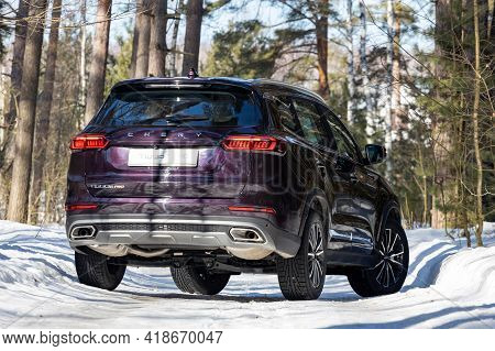 Moscow, Russia - March 18, 2021: Rear View Of The New Flagship Seven-seater Minivan Chery Tiggo 8 Pr