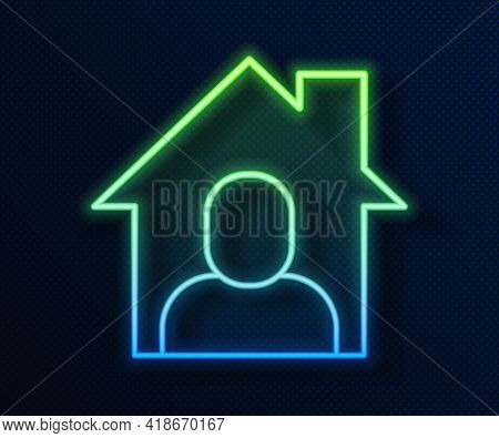 Glowing Neon Line Online Working Icon Isolated On Blue Background. Freelancer Man Working On Laptop