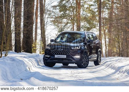 Moscow, Russia - March 18, 2021: The New Seven-seat Minivan Chery Tiggo 8 Pro.  New Flagship Chinese