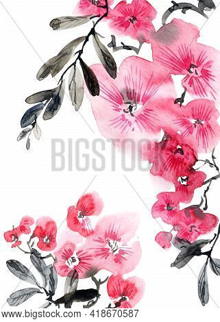 Watercolor Illustration Of Blossom Tree With Pink Flowers, Buds And Leaves. Oriental Traditional Pai