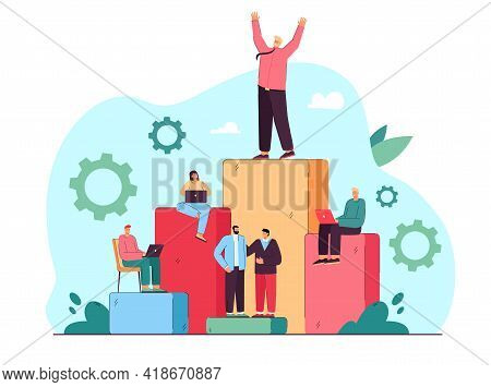 Corporate Workers Achieving Success In Business. Flat Vector Illustration. People Making Career, Rea